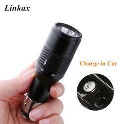 Portabel Rechargeable Mini LED Torch Senter Dikenakan Biaya Mobil Flash Light Torch Lamp Built in Baterai & Charger Mobil