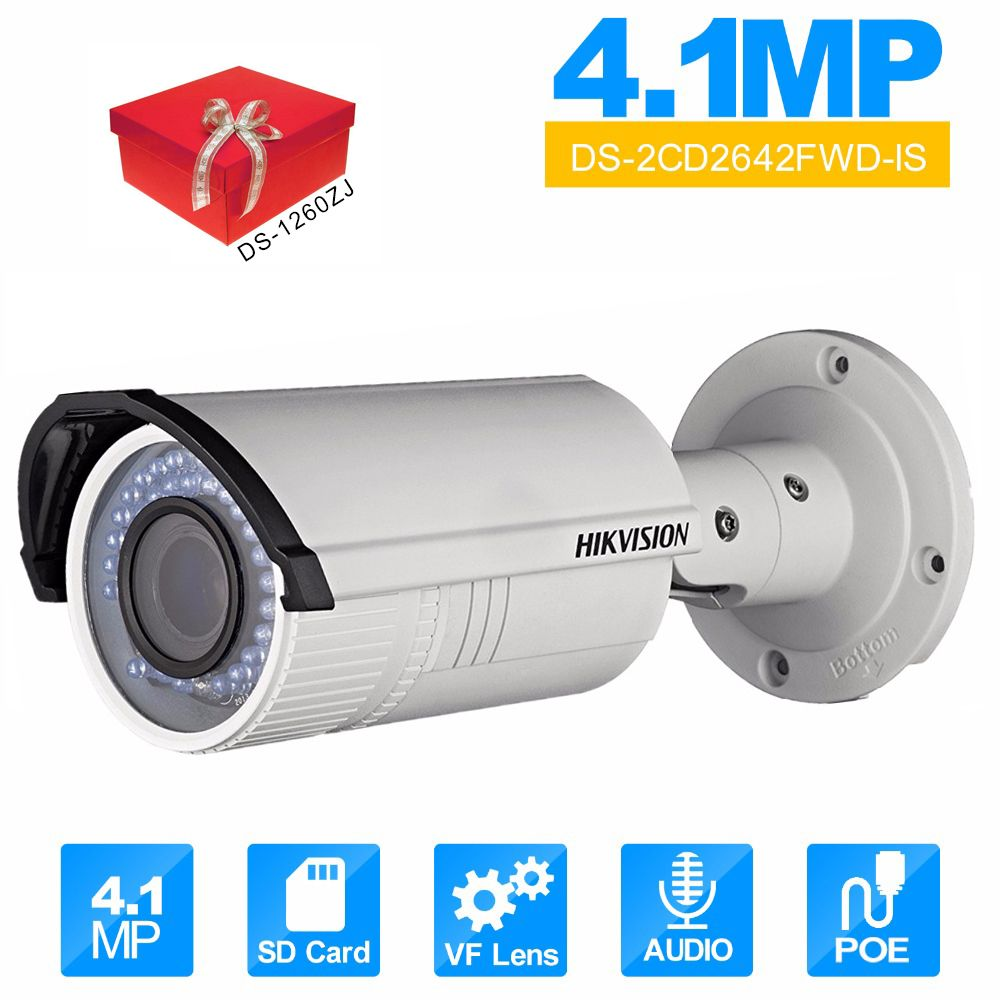 Original Hik Vari Focal IR Bullet IP Camera English Version DS-2CD2642FWD-IS 2.8~12mm lens IP Camera CCTV Camera Audio WDR
