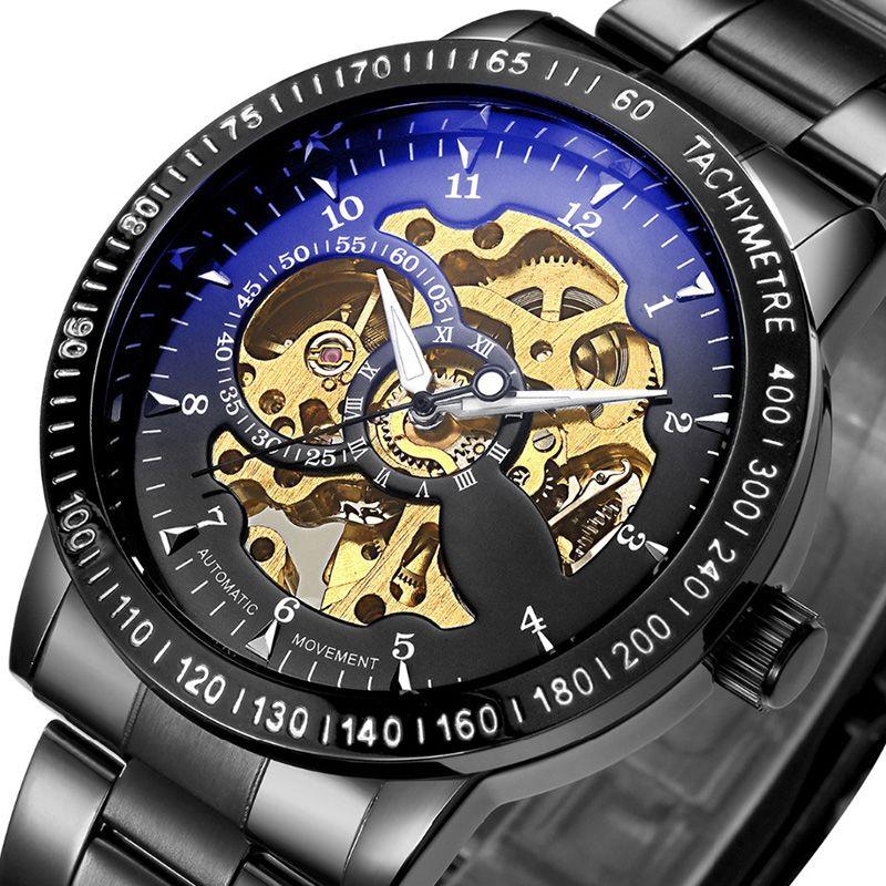 Top Luxury Brand Mechanical Watch <font><b>Men's</b></font> Automatic Self wind Wristwatch Stainless Steel Skeleton Fashion Clock Male Steampunk