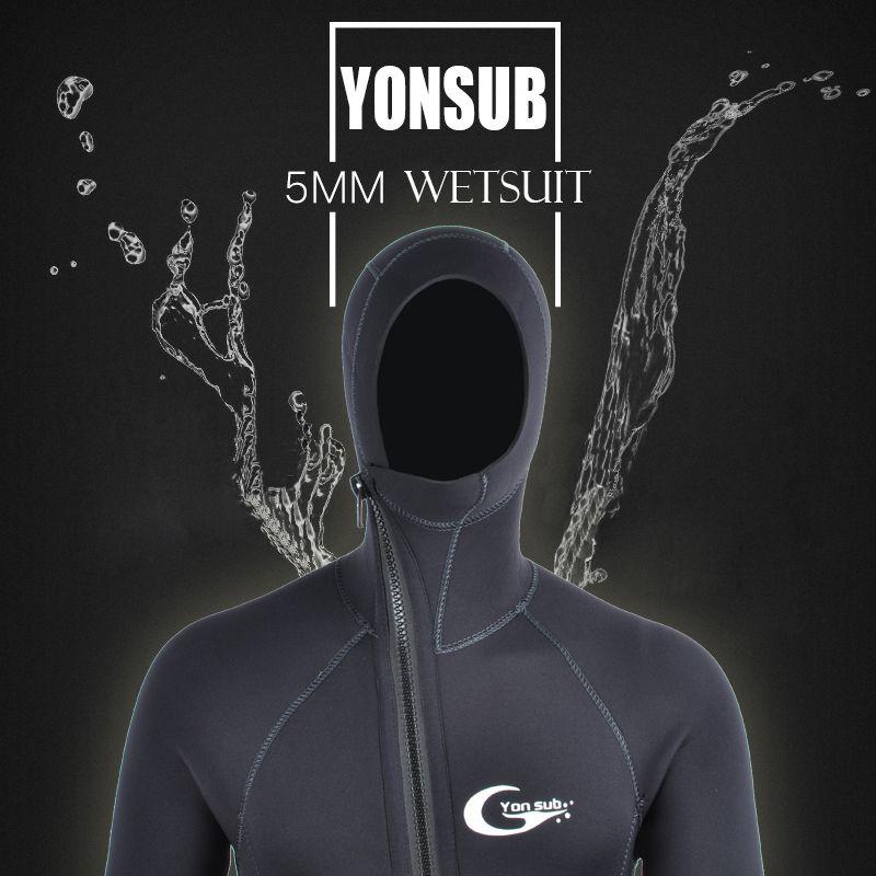 Полу-Dry 5 мм/3 мм передняя молния купальники неопрена дайвинг гидрокостюм с капюшоном подводной охоты водолазный костюм человек