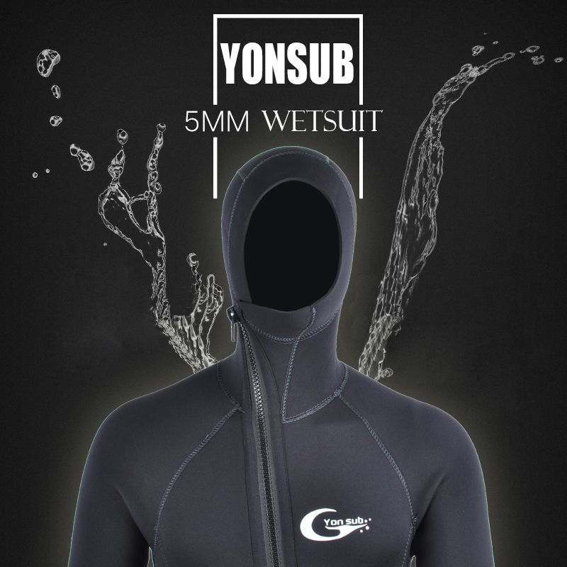 Semi-dry 5MM/3MM Front Zipper Swimwear Neoprene Scuba Diving Wetsuit With Hood Underwater Hunting Spearfishing Diving Suit Man