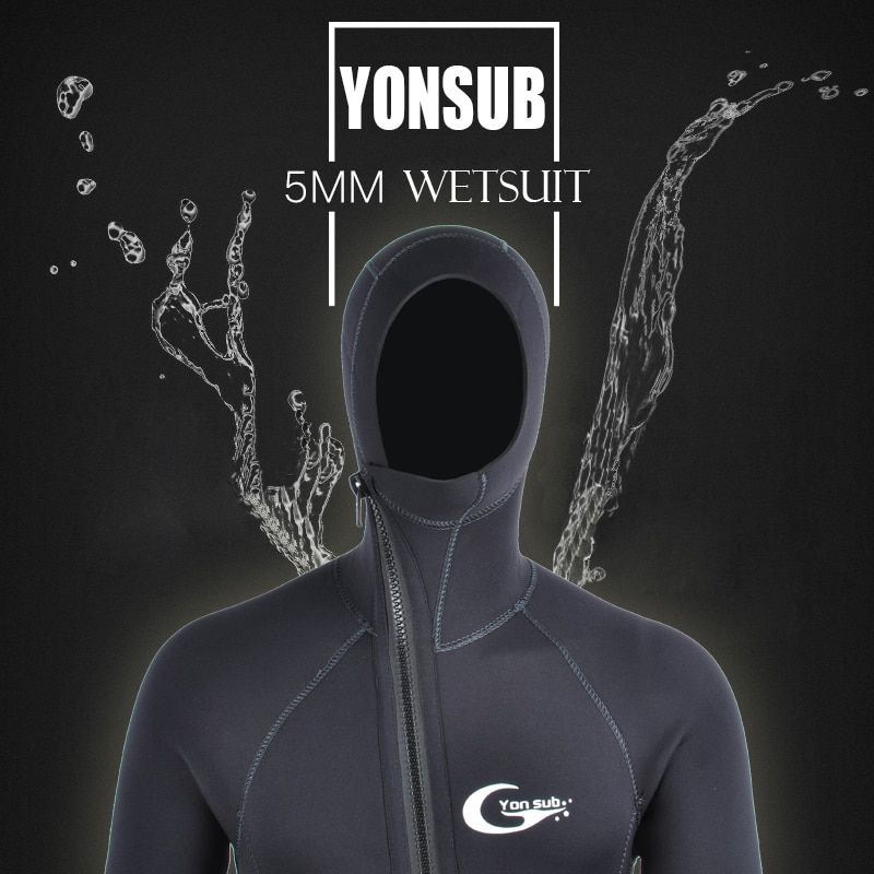 Semi-dry 5mm Front Zipper Neoprene Scuba Diving Wetsuit With Hood Underwater Hunting Surf Spearfishing Black Diving Suit For Man