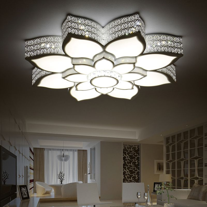 Modern LED Ceiling Lights Crystal Lotus Creative Iron White/Black Body Ceiling Lamp For Bedroom Dining Room lamparas de techo