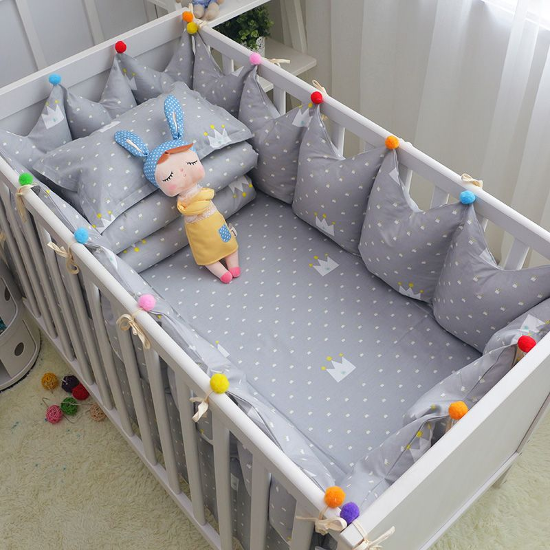 6pcs/set Cotton Baby Cot Bedding Set Grey Crown Crib Bedding Toddler Cot Bed Bumpers Bed Sheet Pillow Crown Shape Crib Bumpers