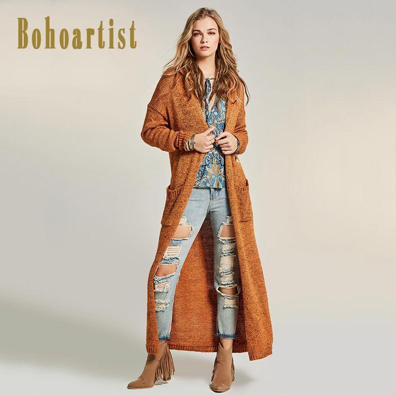 Bohoartist осень Для женщин длинные трикотажные пальто лоскутное прямо карман плотная X-длинный кардиган высокое качество в богемном стиле новы...
