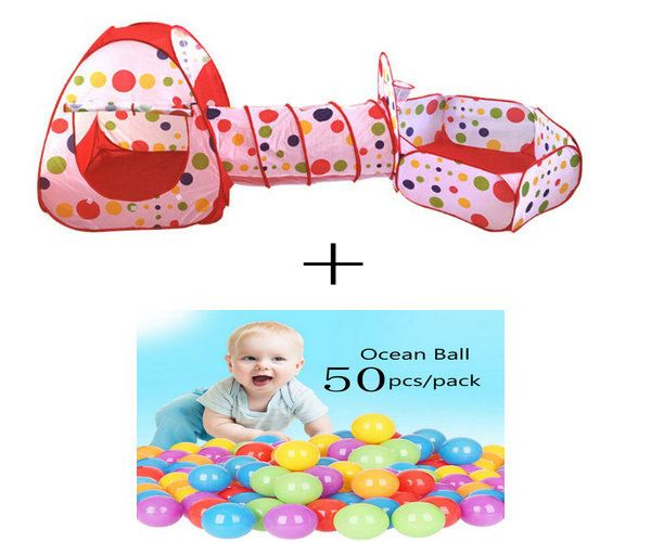 3 In 1 Kids Tent for children Pipeline Crawling Huge Game Yard Ball Pool lodge FASHION Toy tents Cartoon fence Geometric