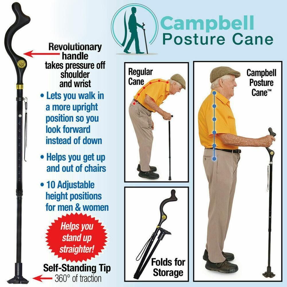 Safety Elderly Walking Stick Telescopic Canes Crutch Staff Folding Grip Hiking Walk Mens Lightweight cane hiking poles crutches