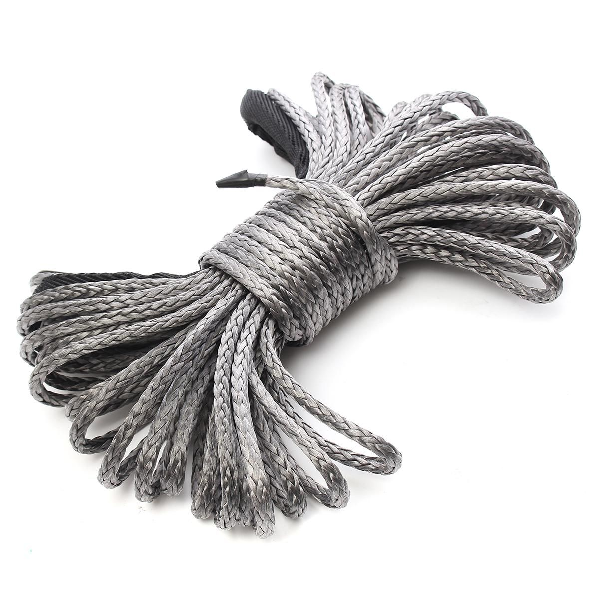 15m*6mm 1/4'' x 50' 7700lbs Grey Synthetic Winch Rope Cable Line With Hook for ATV UTV Off-Road