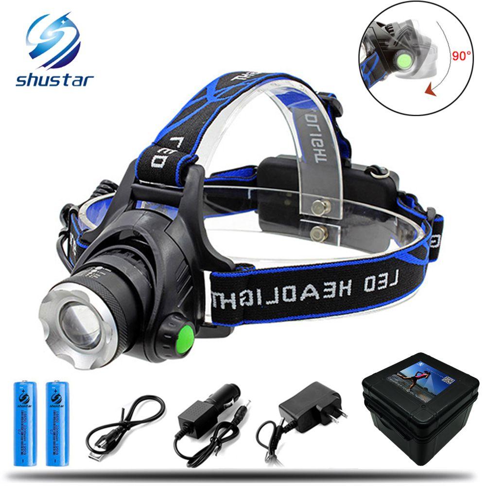8000LM Cree XML-L2 XM-L T6 Led Headlamp Zoomable Headlight Waterproof Head Torch flashlight Head lamp Fishing Hunting Light