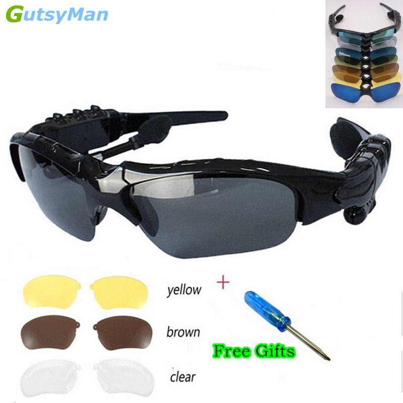 GutsyMan Sport stéréo sans fil Bluetooth 4.1 casque téléphone conduite lunettes de soleil/mp3 équitation yeux lunettes avec lentille de soleil coloré