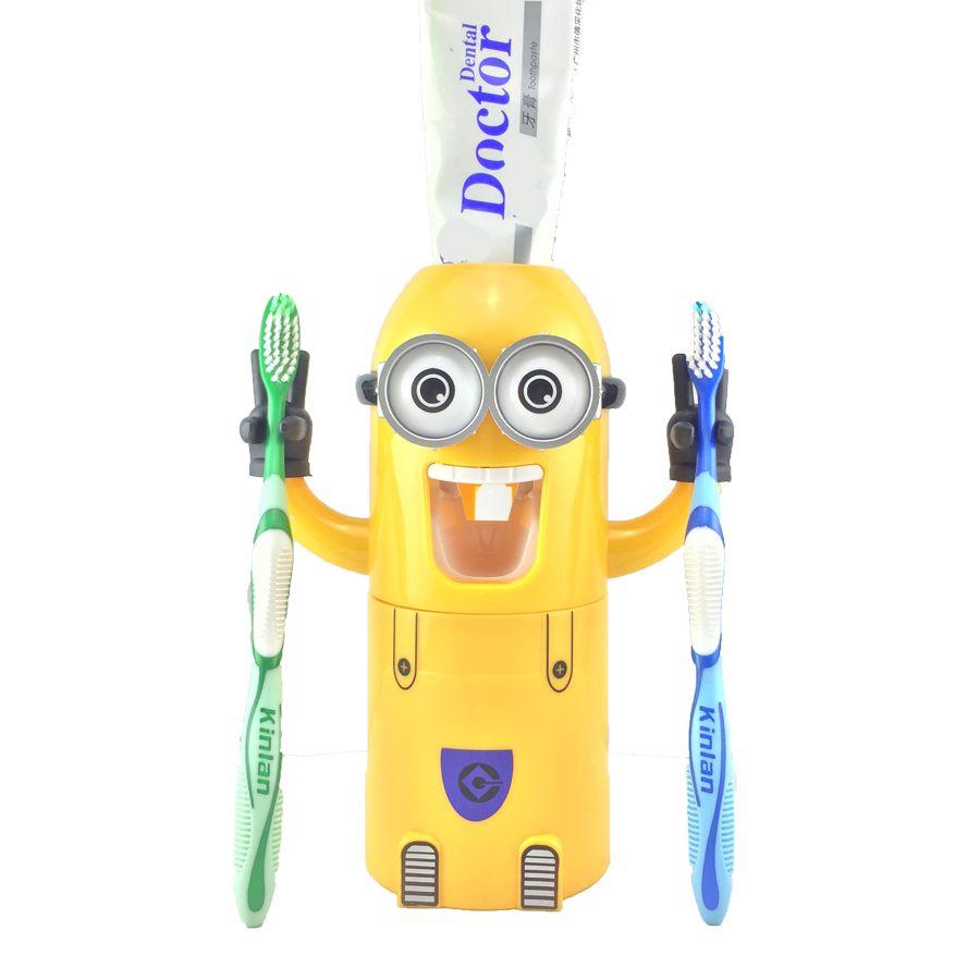Livraison directe produits de salle de bain distributeur automatique de dentifrice mignon grinceurs accessoires de salle de bain Set porte-brosse à dents pour les enfants