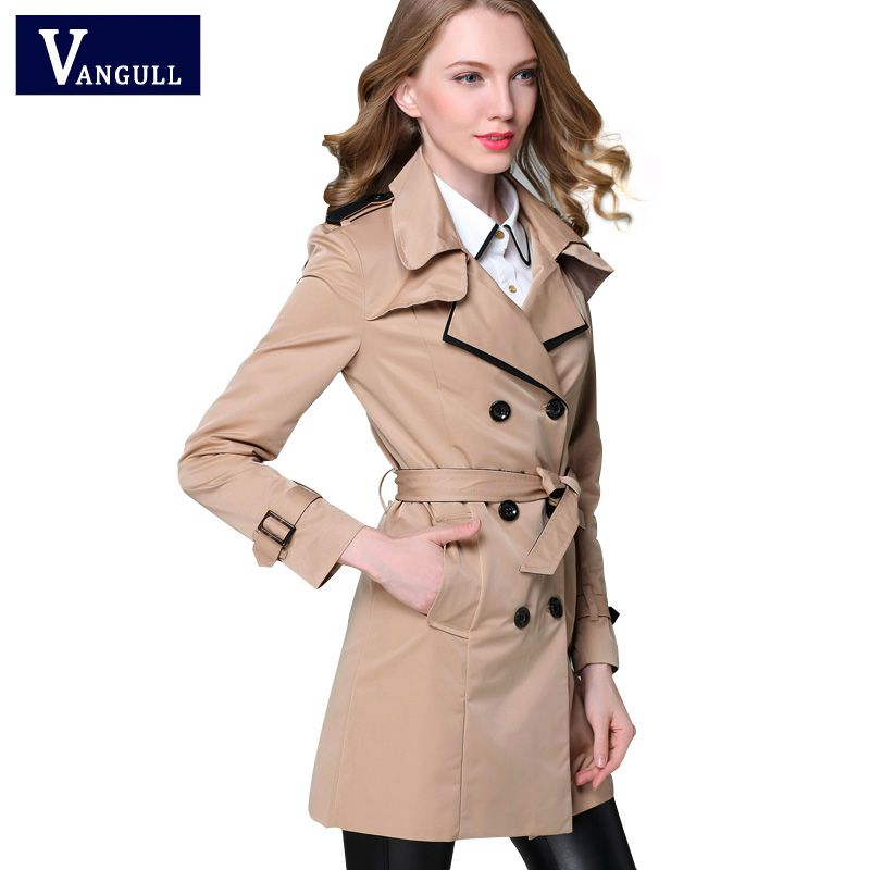 VANGULL 2017 New Fashion Designer Brand Classic European Trench Coat khaki Black <font><b>Double</b></font> Breasted Women Pea Coat real photos