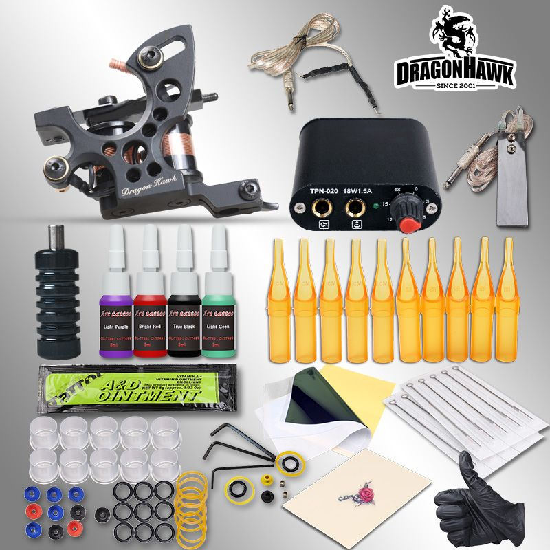 Complete Tattoo Kits 8 Wrap Coils Guns Machine 1/6oz Black Tattoo Ink Sets Power Supply Disposable Needle Free Shipping
