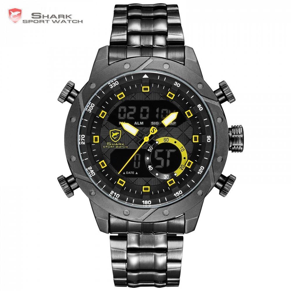 SHARK Watches Fashion Casual Analog Digital LCD Display Auto Date Calendar Alarm Clock erkek kol saati Wristwatch for Men /SH593