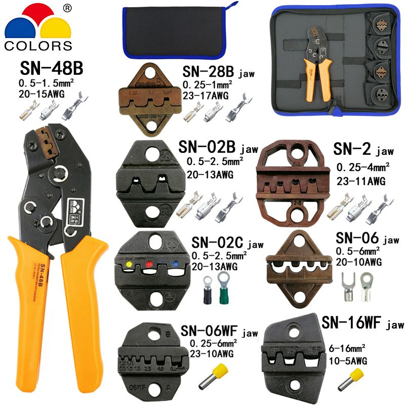 Crimping pliers SN-48B 7 jaw for 2.8 4.8 C3 XH2.54 3.96 2510 pulg/tube/insuated terminals kit bag electric clamp brand tools