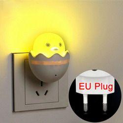 Nueva UE enchufe pato AC110-220V pared luz de control del sensor LED noche luz dormitorio
