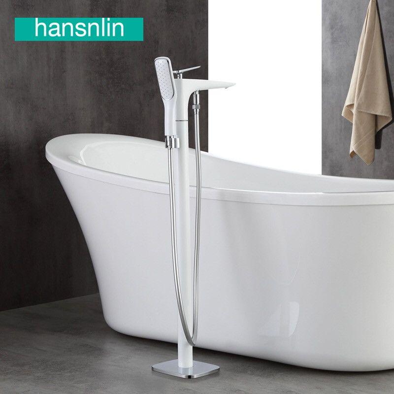 Weiß messing freistehende badewanne wasserhahn bad wasserhähne füller mixer bad wasserhahn wasserhahn systeme boden montiert griferia bano