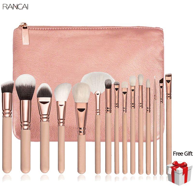 15 pcs Rose Maquillage Pinceaux Pincel Maquiagem Poudre Eye Kabuki Brosse Kit Complet Cosmétiques Beauté Outils avec Étui En Cuir