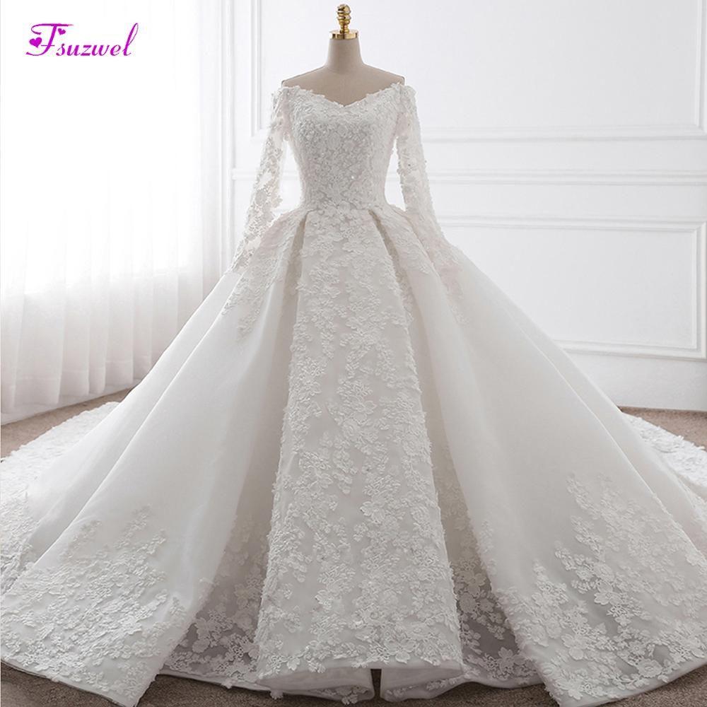 Glamorous Appliques Kapelle Zug Ballkleid Hochzeit Kleid 2019 Mode Schatz Hals Langarm Braut Kleid Vestido de Noiva