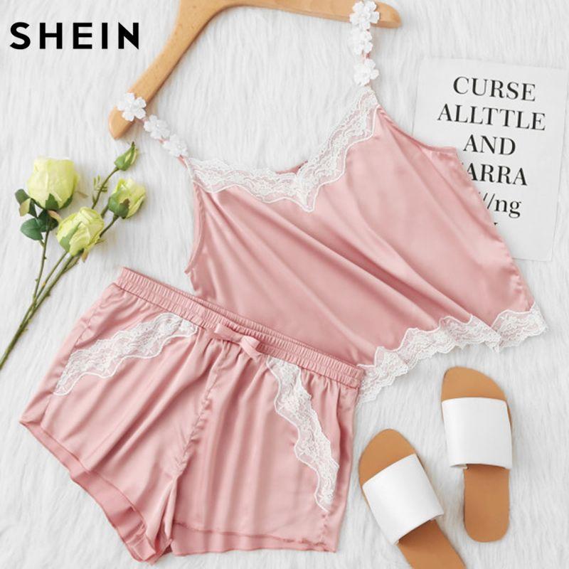 SHEIN Pink Lace Trim Satin Spaghetti Strap Cami Top & Shorts Pajama Sets Women Sleepwear Sleeveless Pajama Sets