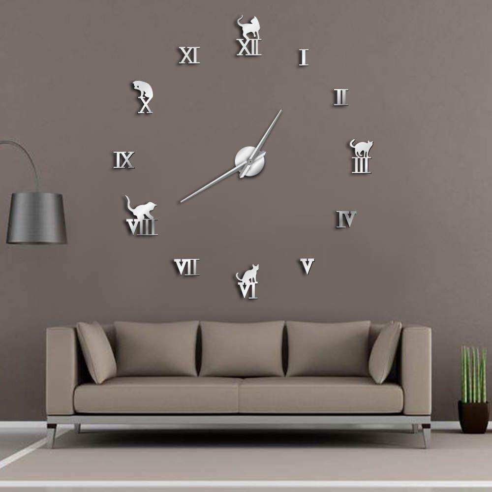 3D Large Wall Clock DIY Large Modern Frameless Home Decor Cat Big Clock Mirror For Bedroom Living Room Kittens Kitty Wall Decor