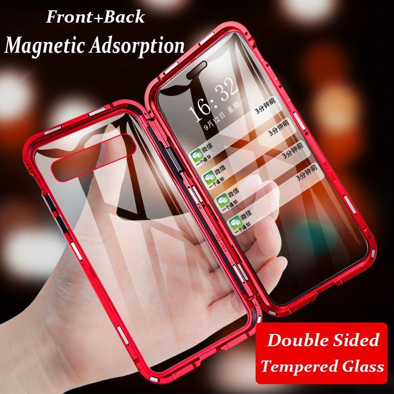 Magnetische Telefon Fall Für Samsung Galaxy A50 A30 A70 A80 S10 5G S10 Plus Hinweis 9 S9 S8 A7 a9 2018 Aluminium Metall Stoßstange Glas Fall