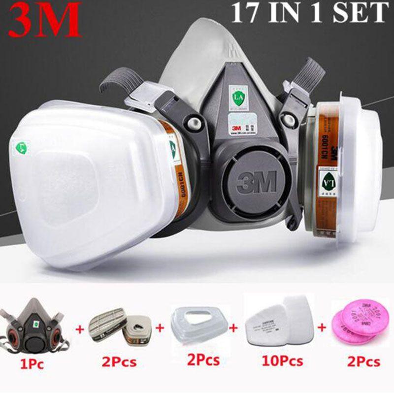 3 M 6200 La Moitié Du Visage Peinture Pulvérisation Respirateur masque à gaz 17 Dans 1 Suit Sécurité Travail filtre à poussière Masque