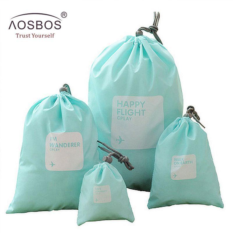 Aosbos 4 pièces/ensemble imperméable à l'eau de voyage sac cosmétique décontracté en Nylon organisateur de stockage pochette en gros sacs de maquillage petite trousse de toilette