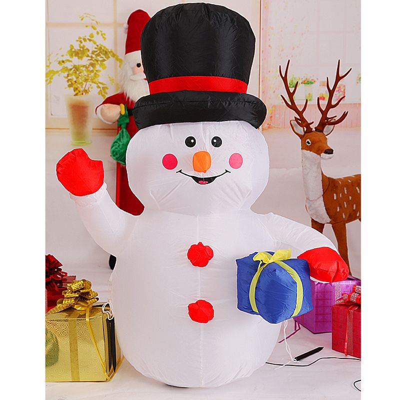 180cm Giant Snowman with Gift Box Christmas Inflatable illuminated Toys New Year Party LED Lighted Props Yard Outdoor Decoration