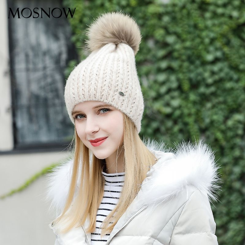 MOSNOW Hats For Women Wool Fur Pompom Hot High Quality Fashion 2017 Winter Knitted Brand New  Women'S Hats Skullies Cap #MZ827
