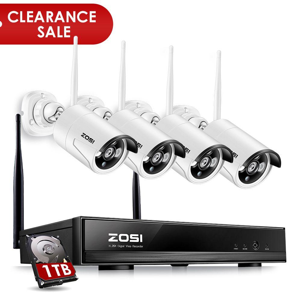ZOSI 4CH 1080P HDMI <font><b>WiFi</b></font> NVR 4PCS 1.3MP IR Outdoor Weatherproof CCTV Wireless IP Camera Security Video Surveillance System Kit