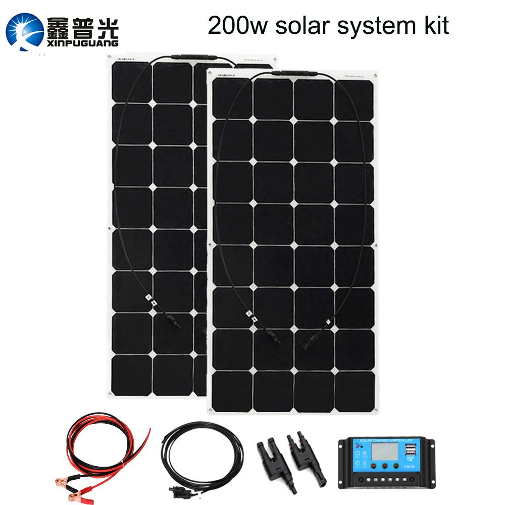 BOGUANG 200W Solar panel System 2pcs 100W flexible solar Power 20A solar controller 3M MC4 cable RV yacht car 12v battery charge