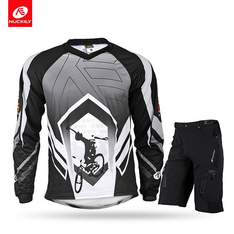 NUCKILY Summer V-neck Cycling Jersey With Short 2pcs Set Mens MTB Clothing Black Color BMX Bike Wear MH002NS357
