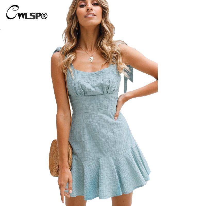 CWLSP 2 Colors 2018 Summer dress Women Sweet Cute Pleated party Dresses Backless Solid Bow Ruffles Dress robe <font><b>femme</b></font> ete QL3583