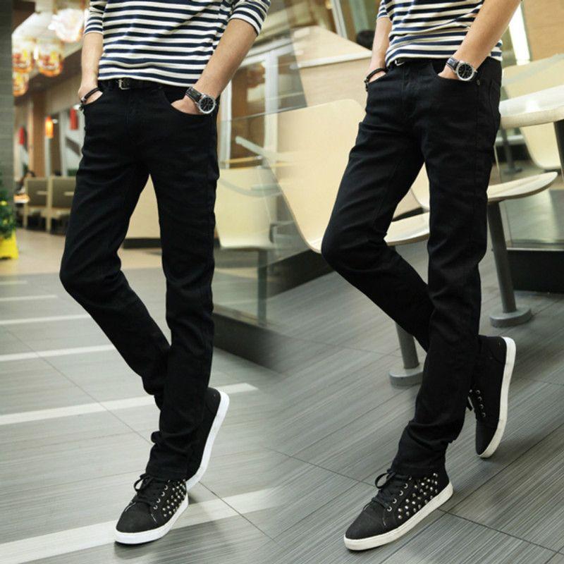 2017 мужские джинсы в осенние и зимние. Для мужчин стрейч Облегающие штаны. Черные повседневные штаны