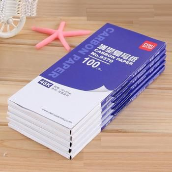 1 Pack 100 Sheets Blue Color Carbon Paper Include 3 Red Ones 48k 85x185mm For Accounting Deli 9370