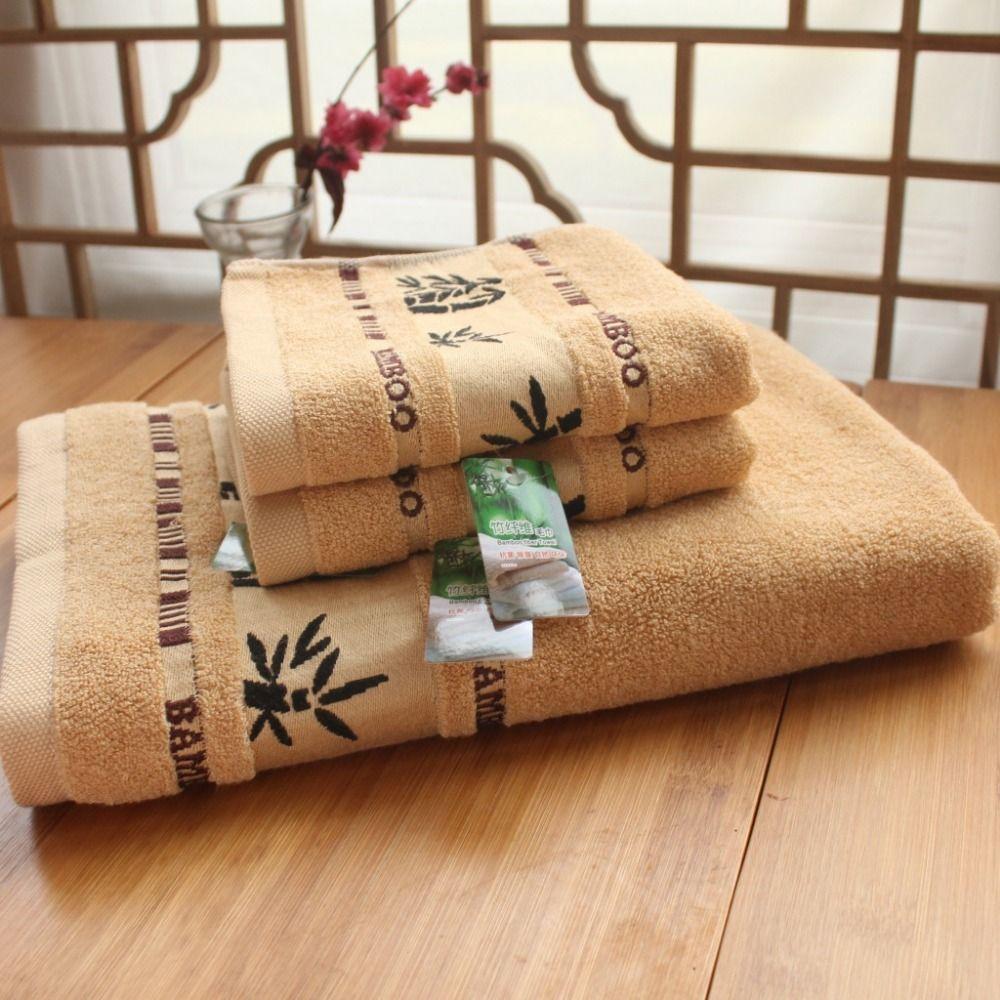 3 pièces imprimer serviette 100% bambou Fiber bain plage visage serviette ensembles pour adultes 34 cm * 75 cm * 2 p 70 cm * 140 cm * 1 p coton serviette de bain