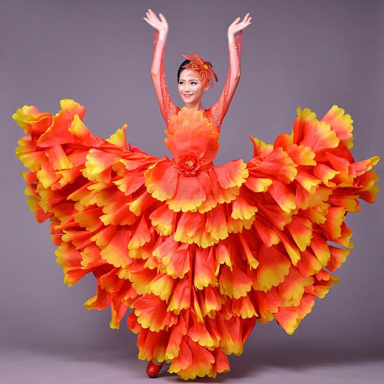 La nouvelle ouverture d'été danse Costumes robe à jupe complète exécutant costume adulte danse jupe femme scène pétales jupe des Dres