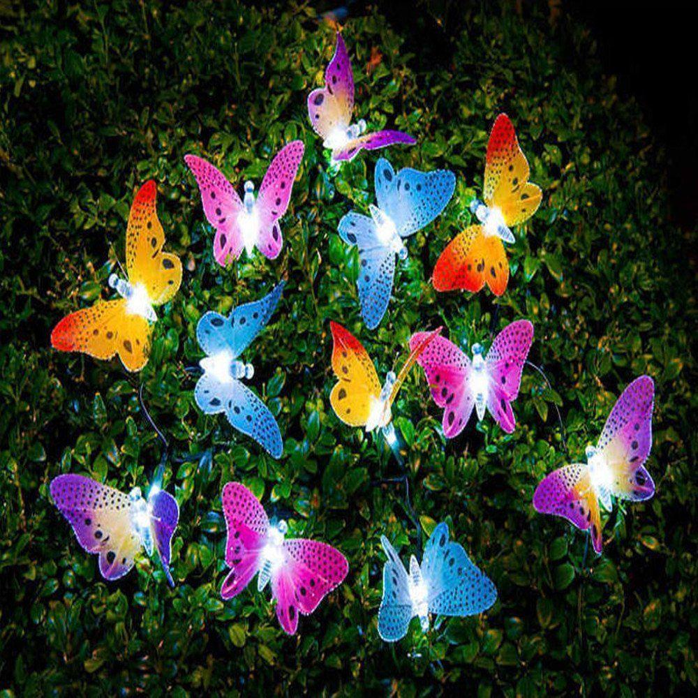 Neue 12 Led Solar Powered Schmetterling Fiber Optic Fee String Wasserdicht Weihnachten Outdoor Garten Urlaub Lichter