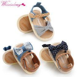 Bébé Fille Sandales Bébé Chaussures D'été Coton Toile Pointillé Arc Bébé Fille Sandales Nouveau-Né Bébé Chaussures Playtoday Plage Sandales