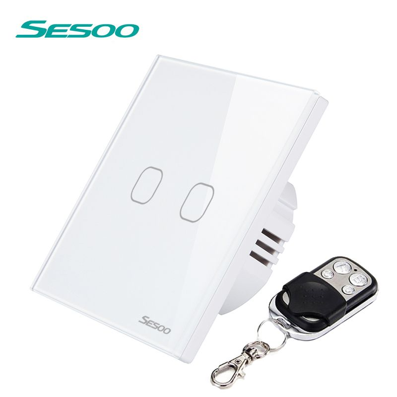 SESOO Remote Control Switches 2 Gang 1 Way Waterproof Tempered Glass Panel Switch Remote Wall Touch Switch With Remote