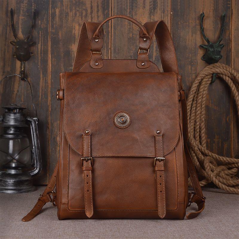 Nesitu Vintage Brown Vagetable Tanned 100% Guarantee Real Skin Genuine Leather Women Men Backpack Woman Backpacks #M9081