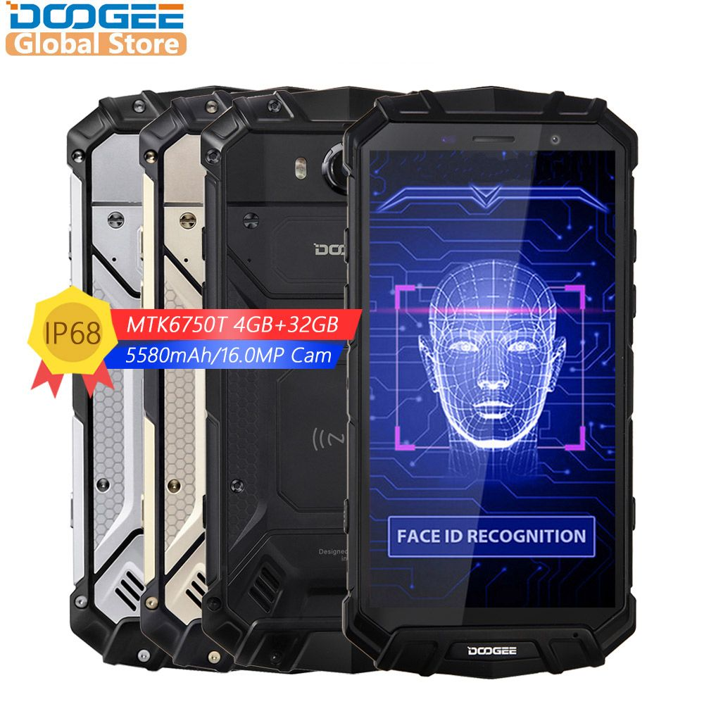 2018 NEW DOOGEE S60 Lite IP68 Wireless Charge Smartphone 5580mAh 12V2A Quick Charge 16.0MP 5.2'' FHD MTK6750T Octa Core 4GB 32GB