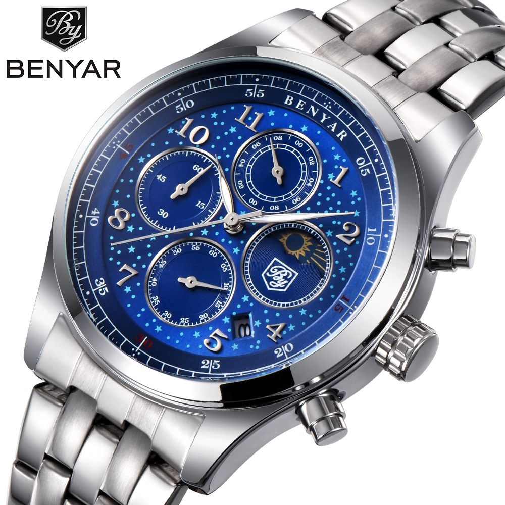 BENYAR Mens Watches Top Luxury Moon Phase Full Steel Quartz Chronograph Watch Sports Military Waterproof Wrist Watch Hour Clock