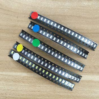 5 couleurs x20pcs = 100 pcs 1206 SMD LED lumière Paquet Rouge Blanc Vert Bleu Jaune 1206 led kit Livraison gratuite