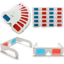 10pcs/lot Universal Paper Anaglyph 3D Glasses Paper 3D Glasses View Anaglyph Red Cyan Red/Blue 3D Glass For Movie EF