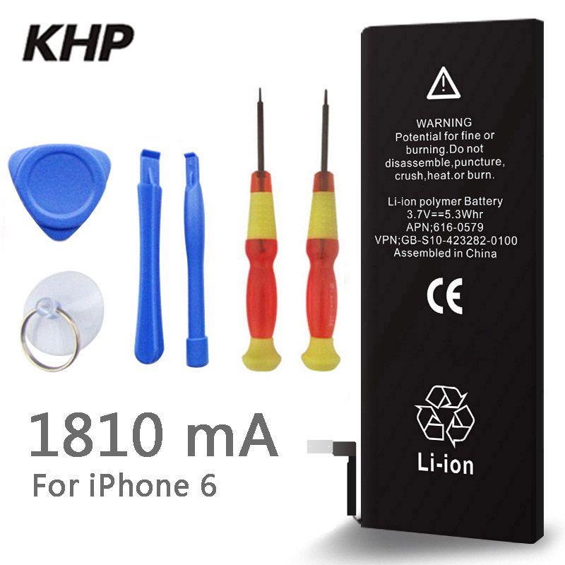 2017 neue Original KHP Handy-akku Für iphone 6 Reale Kapazität 1810 mAh Mit Tools Kit Ersatz Mobile Batterien 0 zyklus