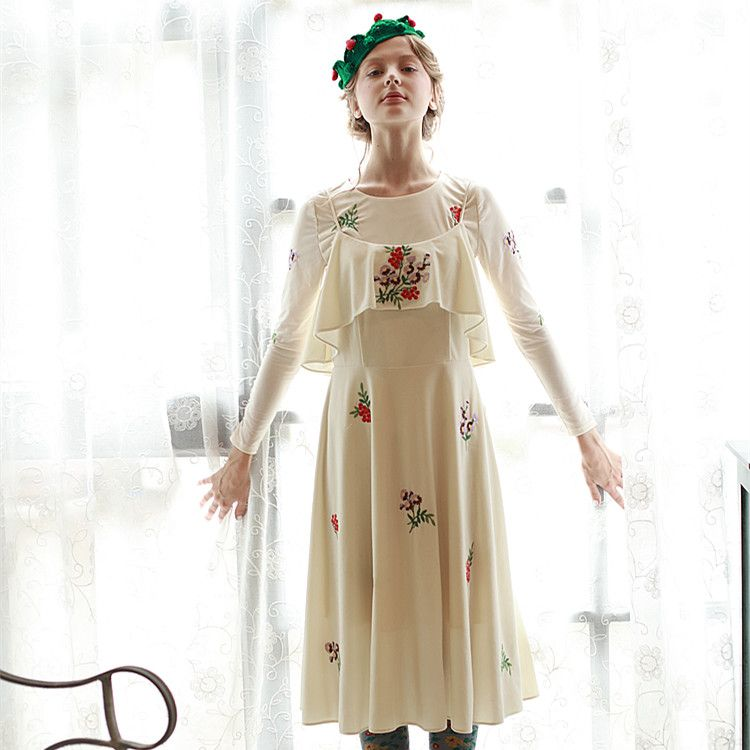 LYNETTE'S CHINOISERIE Milk tea flowers fruits fresh embroidery flower pleuche series elegant spaghetti strap one-piece dress