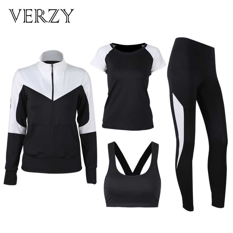 VERZY 2018 New Solid Black and White Yoga Set Women Plus Large Size Hoodie+Bra+T-shirt+Leggings Running Gym Fitness Sports Suit