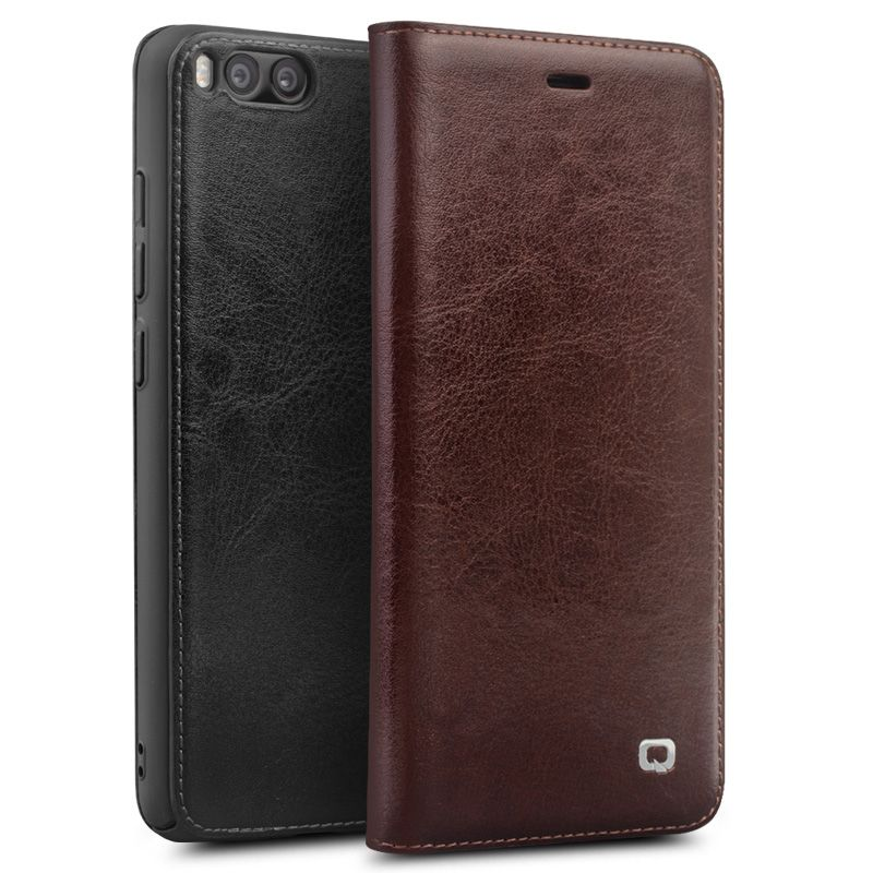 Qialino Real Genuine Leather Case For Xiaomi 6 Mi6 Mi 6 case for Xiaomi Mi6 Flip Cover Wallet Card Slot Phone Bag cover